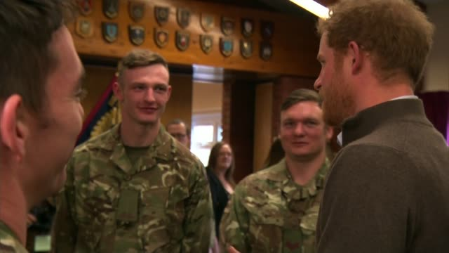 Prince Harry meets soldiers who helped flood victims ENGLAND Lancashire Weeton Barracks INT Prince Harry meeting soldiers from the 2nd Battalion The...