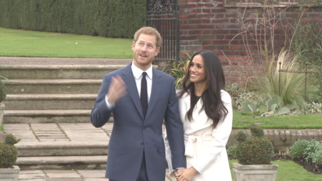 prince harry meghan markle at announcement of prince harry's engagement to meghan markle during an official photocall to announce the engagement of... - kensington palace video stock e b–roll