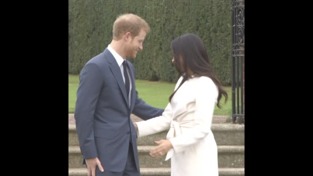 prince harry meghan markle at announcement of prince harry's engagement to meghan markle - gif file format extension stock videos & royalty-free footage