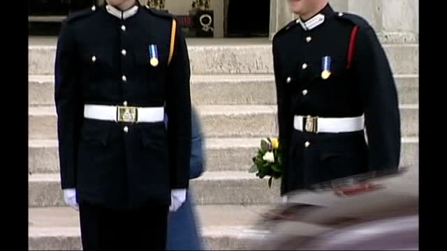 prince harry not to be sent to iraq; lib surrey: camberley: sandhurst royal military academy: prince harry and prince william in uniform - military uniform stock videos & royalty-free footage