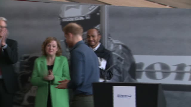 prince harry opening the silverstone experience alongside lewis hamilton - helmet stock videos & royalty-free footage