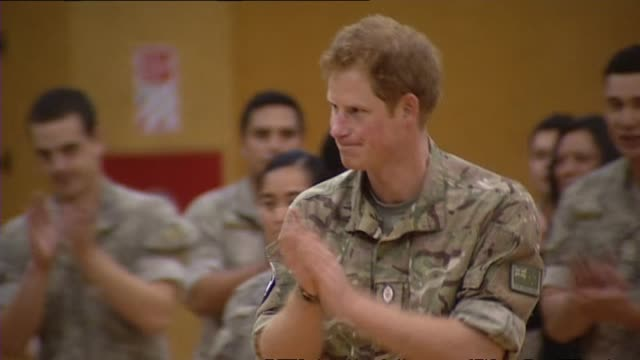 Prince Harry performing haka with First Brigade soldiers at Linton Army Camp and receiving applause for his spirited effort