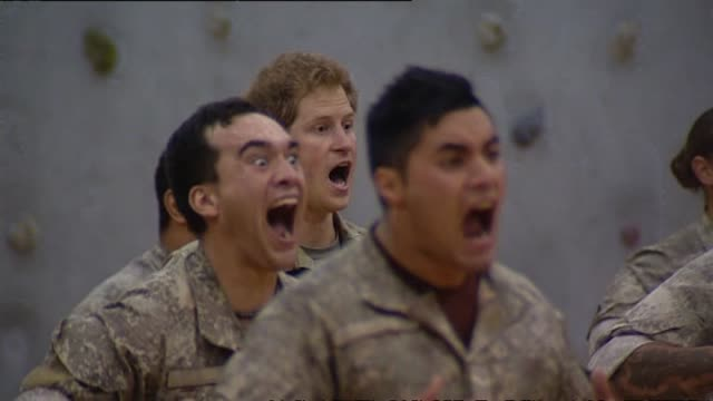 Prince Harry performing haka with First Brigade soldiers at Linton Army Camp