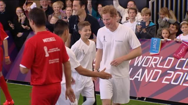Prince Harry playing in 5aside student football match during 2015 FIFA U20 World Cup promotional event