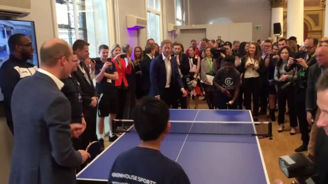 prince harry plays prince william at table tennis on day that harry chose his older brother to be his best man at his wedding the princes were... - best man stock videos and b-roll footage