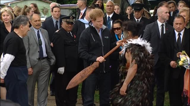 prince harry presented with carved paddle prior to paddling in waka on whanganui river with local māori - new zealand culture stock videos and b-roll footage