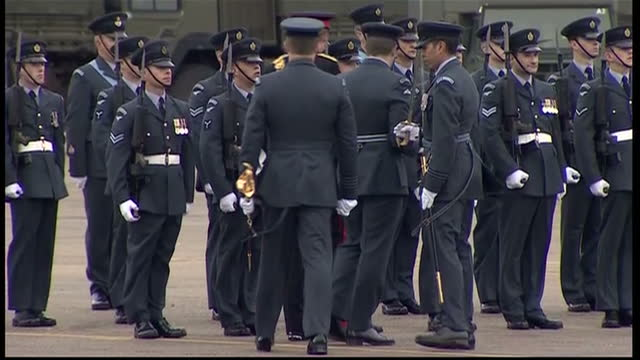 prince harry presents no26 squadron with a new standard at raf honington clean exterior shots of prince harry inspecting no 26 squadron raf regiment... - bury st edmunds stock videos & royalty-free footage