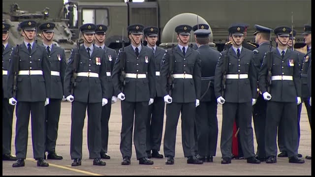 prince harry presents no26 squadron with a new standard at raf honington exterior shots of prince harry honorary air commandant at ceremony to... - bury st edmunds stock videos & royalty-free footage