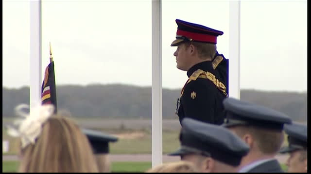 prince harry presents no26 squadron with a new standard at raf honington exterior shots of prince harry honorary air commandant visiting raf... - bury st edmunds stock videos & royalty-free footage