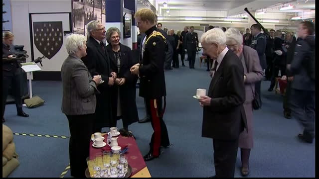 prince harry presents no26 squadron with a new standard at raf honington interior shots of prince harry honorary air commandant visiting raf... - bury st edmunds stock videos & royalty-free footage