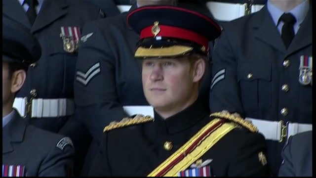 prince harry presents no26 squadron with a new standard at raf honington interior shots of prince harry honorary air commandant visits raf honington... - bury st edmunds stock videos & royalty-free footage