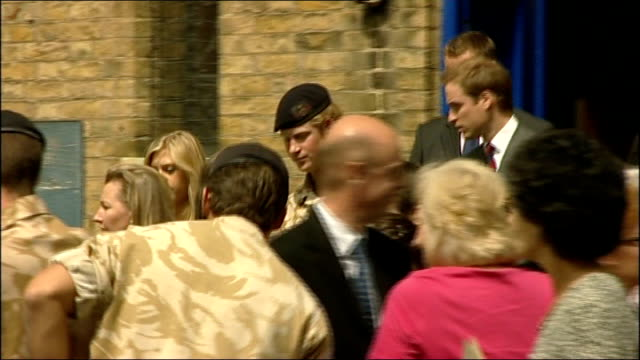 Prince Harry receives his first army campaign medal for military service in Afghanistan Prince Harry leaving church with Chelsy and Prince William...