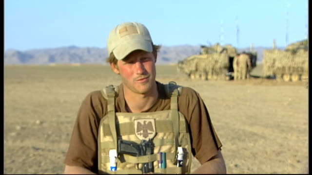 Interview during his deployment February 2008 AFGHANISTAN Helmand Province EXT Prince Harry interview SOT I had sausage and beans / Always a pleasure...