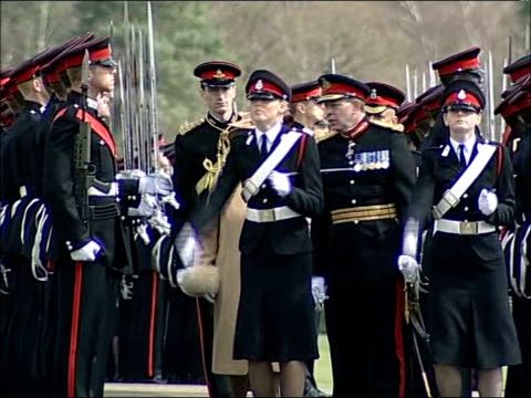 prince harry sandhurst graduation: sovereign's parade / queen's speech; **military band music overlaid sot** prince harry waiting among cadets,... - sideways glance stock videos & royalty-free footage