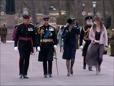 Sovereign's Parade / Queen's speech **MILITARY BAND MUSIC OVERLAID SOT** Prince Charles Prince of Wales towards chatting with officer followed by...