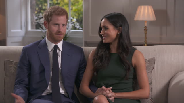 prince harry saying he had never heard of meghan markle before and he was beautifully surprised when he first saw her - media interview stock videos and b-roll footage