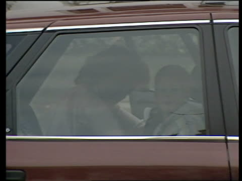 prince harry school play; england: london: kensington car draws up l-r zoom in prince harry seen in back seat with mother princess diana next &... - princess stock videos & royalty-free footage
