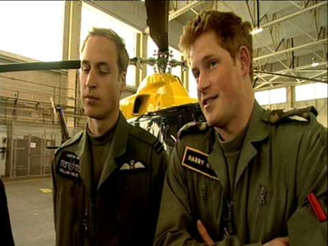 Prince Harry stands beside Prince William and talks candidly about his desire to serve in Armed Forces RAF Shawbury18 June 2009