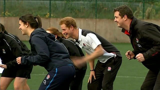 Prince Harry takes rugby training session in Eccles ENGLAND Greater Manchester Eccles EXT Prince Harry taking part in rugby training session Harry...