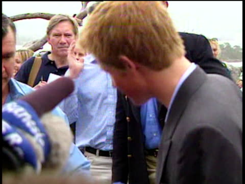 Prince Harry talks to press on visit to Taronga zoo during gap year 23 Sep 03