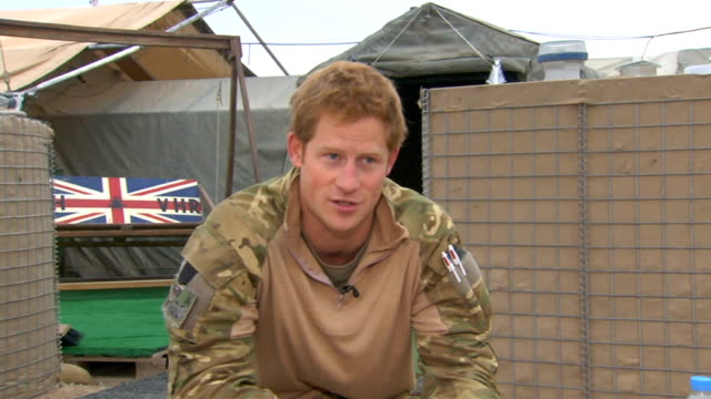 prince harry tour of duty in afghanistan prince harry interview sot re about the mission yesterday morning that was in ops box ricky which is... - bladder stock videos and b-roll footage