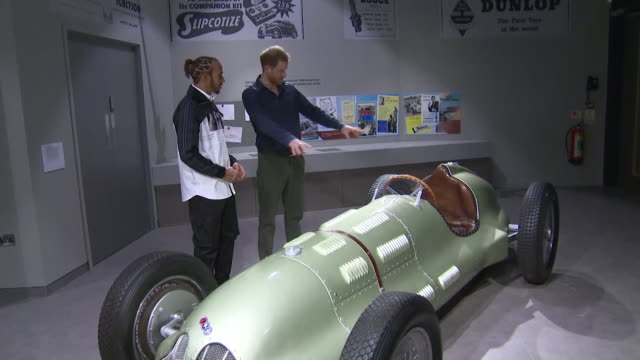 prince harry tours exhibition at silverstone with lewis hamilton - silverstone stock videos & royalty-free footage