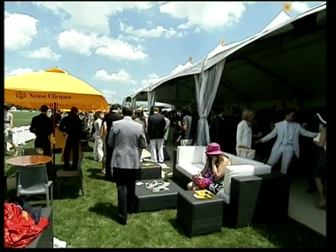 plays in polo match champagne poured / female guests / prince harry chatting with others / manhattan skyline seen in the distance behind polo field /... - ll cool j stock videos and b-roll footage