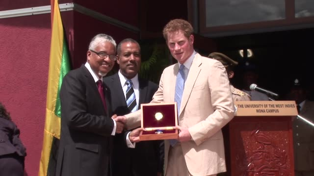 prince harry visit to the new law faculty on march 06 2012 in kingston jamaica - emma brumpton stock videos & royalty-free footage