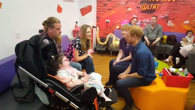 prince harry visited seriously ill children being helped by wellchild at leeds children's hospital the prince sat and chatted with parents about how... - family with four children stock videos and b-roll footage