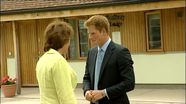 prince harry visits canine partners national training centre in west sussex ext harry leaving building and along to car / cars along past people... - hundeartige stock-videos und b-roll-filmmaterial