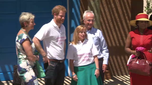 prince harry visits charity in lesotho shows exterior shots prince harry talking with supporters of the charity posing for photo with prince seeiso... - waisenhaus stock-videos und b-roll-filmmaterial