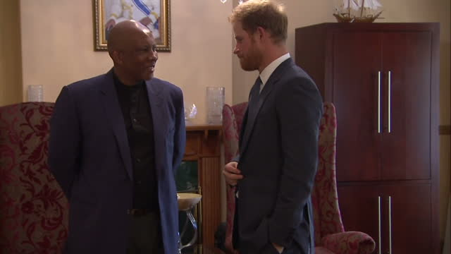 prince harry visits charity in lesotho shows interior shots prince harry shaking hands with king letsie iii sit for meeting on november 26 2015 in... - waisenhaus stock-videos und b-roll-filmmaterial