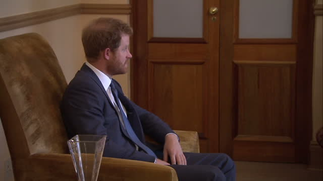 Prince Harry visits charity in Lesotho Shows interior shots Prince Harry King Letsie III sat chatting on November 26 2015 in Maseru Lesotho
