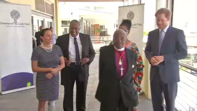 Prince Harry visits Desmond Leah Tutu Foundation Centre Shows exterior shots Desmond Tutu laughing joking with reporters 7 Prince Harry before...