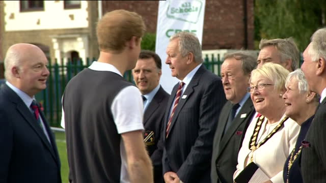 prince harry visits eccles rugby festival. shows exterior shots prince harry arriving at eccles rfc and shaking hands with guests. on october 20,... - salford quays stock videos & royalty-free footage
