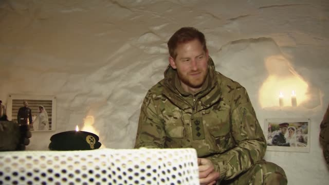 prince harry visits 'exercise clockwork' in arctic circle norway bardufoss int **music heard sot** prince harry duke of sussex sitting inside quincy... - military private stock videos & royalty-free footage