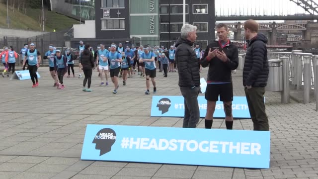 prince harry visits gateshead to meet runners taking part in the great north run on behalf of mental health charity heads together who are also... - steve cram stock videos & royalty-free footage