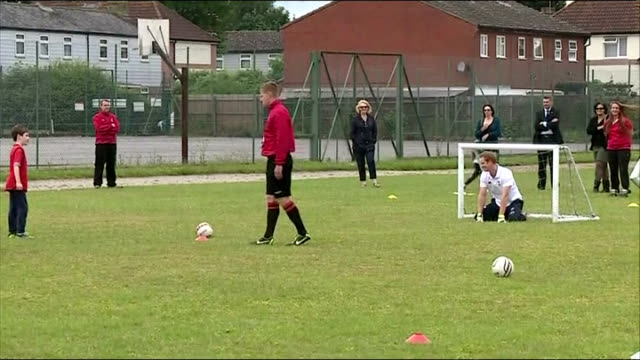 prince harry visits inspire suffolk, where he meets young people taking part in football and rugby coaching sessions, as well as young people... - playing tag stock videos & royalty-free footage