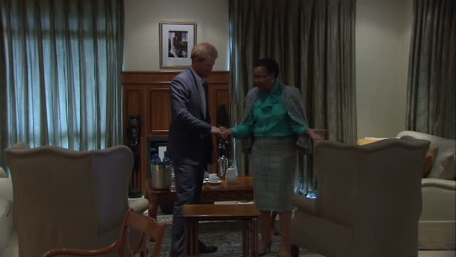 prince harry visits the nelson mandela centre shows interior shots prince harry shown round office with by graca machel who holds his hand on... - waisenhaus stock-videos und b-roll-filmmaterial