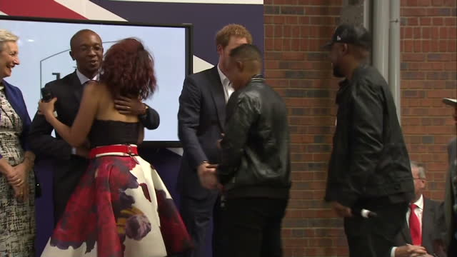 prince harry visits youth empowerment exposition at the bus factory shows exterior shots prince harry welcoming band members onto stage on december... - waisenhaus stock-videos und b-roll-filmmaterial