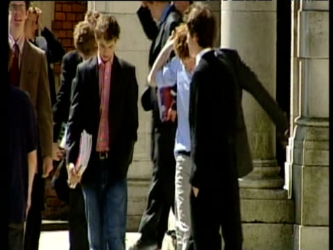 vidéos et rushes de prince harry walks out of hall following final exam at eton college with fellow students berkshire 12 jun 03 - enfance