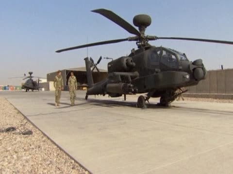 Prince Harry walks towards an Apache Helicopter Afghanistan