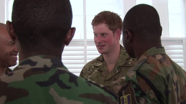 prince harry with military on march 07 2012 in kingston jamaica - emma brumpton stock videos & royalty-free footage