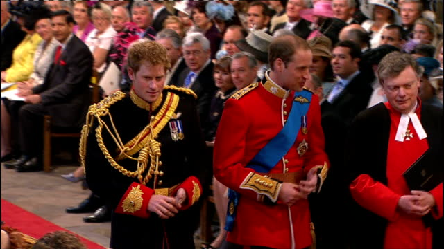 prince harry's 30th birthday lib harry and william walking along aisle at william's wedding to kate middleton - prinz william herzog von cambridge stock-videos und b-roll-filmmaterial
