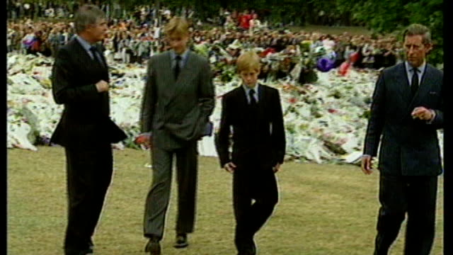 prince harry's 30th birthday t05099710 prince charles prince william and prince harry along as looking at mass of floral tributes laid in memory of... - tribute event stock videos & royalty-free footage