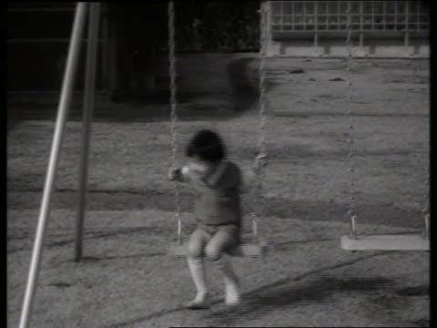 prince hiro of japan on swing / 1960's / sound - solo bambini maschi video stock e b–roll