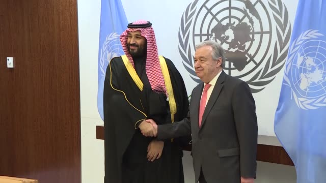 prince mohammed bin salman al saud, crown prince, kingdom of saudi arabia, attends a meeting with the united nations secretary-general antonio... - prince stock videos & royalty-free footage