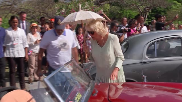 prince of wales and duchess of cornwall attend classic car event in havana cuba havana various of prince charles prince of wales and camilla duchess... - principe carlo principe del galles video stock e b–roll