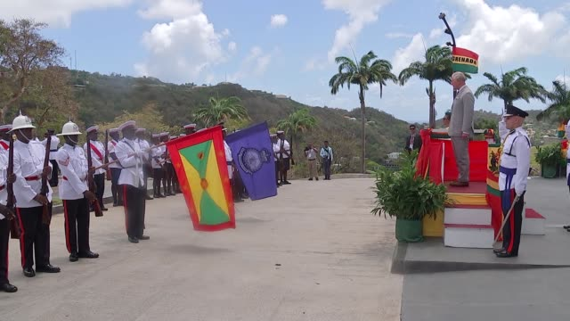prince of wales and duchess of cornwall visit grenada grenada st george's ext prince charles prince of wales and camilla duchess of cornwall down... - st. george's grenada stock videos and b-roll footage