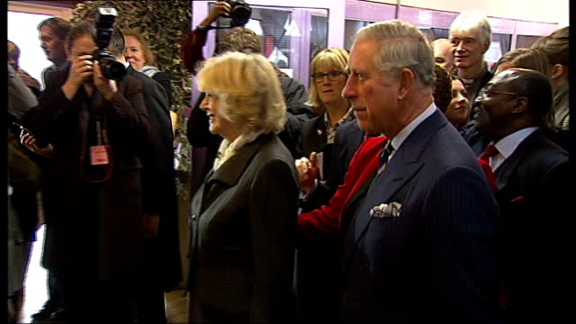 vídeos de stock e filmes b-roll de prince of wales and duchess of cornwall visit london community projects peckham int prince charles and camilla duchess of cornwall at party in church... - peckham